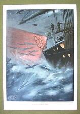 FLYING FISHES Ship at Sea Night - VICTORIAN Era Color Print