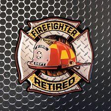 "RETIRED FIREFIGHTER Sticker Maltese cross Domed Decal Emblem CAR Sticker 3D 3.2"""