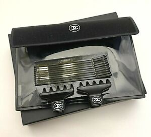 Chanel set of Hairclips black mini in pouch BNIB RARE VIP GIFT