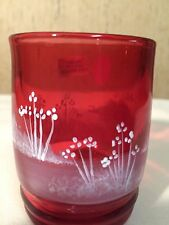 FENTON HANDPAINTED MARY GREGORY CRANBERRY TUMBLER #5971 DG
