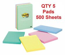 """Post-it Notes 4"""" in x 6"""" in Marseille Collection 5 Lined Pads 500 Total Sheets"""