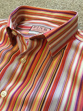 GORGEOUS THOMAS PINK FUNKY CANDY STRIPE BUTTON CUFF SHIRT 16.5 COLLAR COST £110