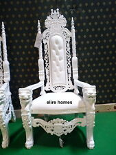 BESPOKE 178cm Lion King Throne wedding Chair ~ All White   /  with faux leather