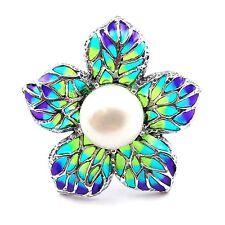 LARGE ART NOUVEAU STYLE PLIQUE A JOUR PEARL FLOWER RING STERLING SILVER 925 8