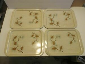 """Vintage Mid Century Metal TV Trays Pine Cone Design Set Of 4  APPROX. 15"""" by 11"""""""