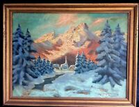Antique Signed Oil Painting Landscape Snow Covered Mountains