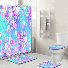 4Pcs Waterproof Polyester Shower Curtain Toilet Seat Bathroom Rugs Mat MP