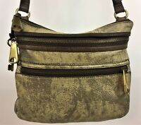Fossil Leather Crossbody Purse Shoulder Bag Authentic Pebbled Gold