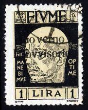 FIUME ITALIA 1921 1 LIRE GOVERNO PROVVISORIO sovrastampa SG 172 VFU