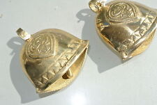 2 small COW BELL Nice sound solid brass old style antique aged look Goat 80 mm B