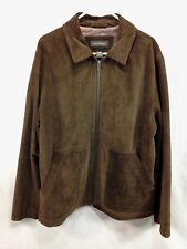 Banana Republic Coat Jacket Mens Large Brown Leather Suede Full Zip