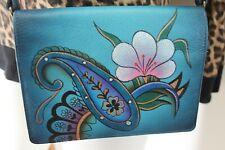 Anuschka Anna Crossbody wallet organizer blue graphic floral print pattern Art