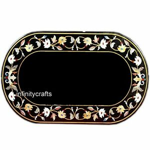 Marble Coffee Table Top Floral Design Inlaid Sofa Table for Home 24 x 36 Inches