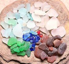 100 Pcs Genuine SEA GLASS Multi-Colors Surf Tumbled Natural JQ Craft Quality!