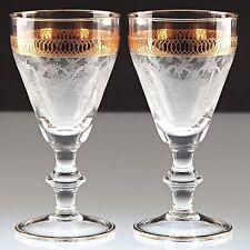 2 Vintage Antike Weingläser Ätzdekor Goldrand Gravur H1D