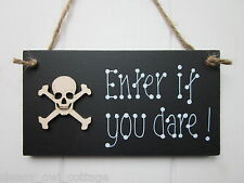 DO NOT ENTER IF YOU DARE! SKULL BOYS GIRLS Door Sign