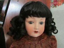 SIZE 13   SARA WIG  MOHAIR SYNTHETIC  BLACK HAND TIED MODERN ANTIQUE DOLL