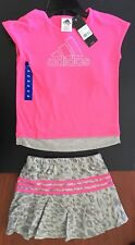 adidas New Girls Neon Pink | Gray Shirt & Shorts Skirt Set Outfit - 6X