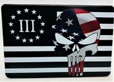 "AMERICAN FLAG, 3 PERCENTER, Aluminum Trailer Hitch plug Cover, UV, 4"" X 6"""