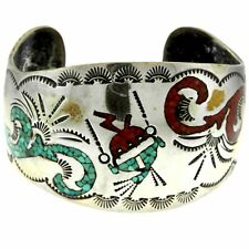 & Coral Chip Inlay Bracelet Cuff Wide Beauty Sterling Silver Curvy Turquoise