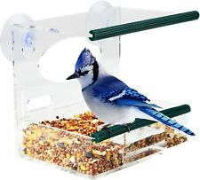 Window Bird Feeder for Outside with Strong Suction Cups & Removable Tray