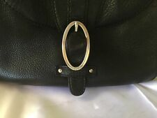 Vintage Black Leather Oroton handbag Silver O Buckle shoulder bag hand purse