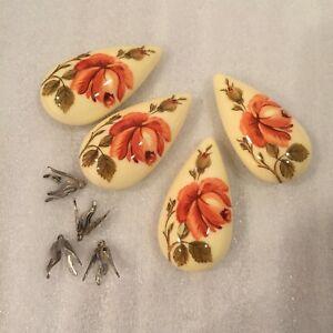 SL85A 47x25mm vintage hard resin cream teardrops w/pink rose floral transfer(4)