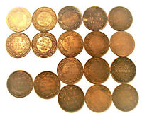 1859-1920 CANADA ONE CENT MIXED BAG OF 18 COINS (LOT AD147) ***18 LARGE CENTS***
