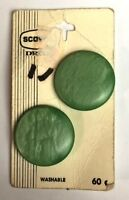 """SCOVILL TWO ROUND BUTTONS MINT GREEN PLASTIC 1 1/8"""" VINTAGE NOS MADE IN HOLLAND"""