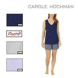 SALE! Carole Hochman Womens Pajamas Set PJ 4-Piece TShirt Tank Shorts Capri -J63