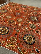 9' X 12' Oriental Area Rug Rare Hand Knotted Wool Colorfull red suzani new woven