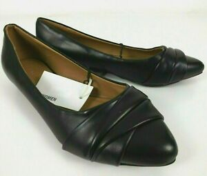 Target Size 8 Shoes Flats Black Pleated Vamp Brand New Work Casual