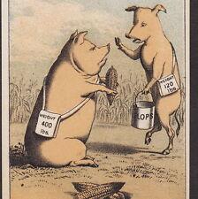 Fairbanks Family Lard Farm Tin Cup Crossed Corn Pig Hog Advertising Trade Card