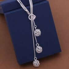 Fashion Women 925 Silver Small Ball Pendant Long Multi-Chain Necklace Jewelry