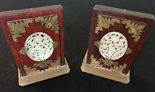 Antique Pair Of Wooden And Brass Jade Inlaid Bookends