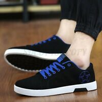 US Fashion Men's Casual Shoes Leather Sneakers Canvas Sport Walking  /