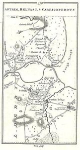 Antique map, Roads Dungiven to Carrickfergus(2), Belfast to Killyleagh ..