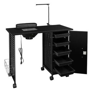 New Pro Salon Nail Manicure Table With Electric Nail Vent LED Lamp 5 Drawers