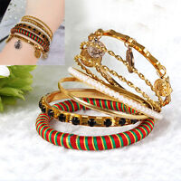 7PCS Women's Fashion Bangle Bracelet Set Pearl Bohemia Burnished Gold Jewelry