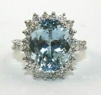Oval Aquamarine & Diamond Halo Solitaire Lady's Ring 14k White Gold 7.86Ct