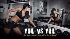 "Bodybuilding Fitness Motivation Motivational  Fabric poster 24"" x 13""Decor 16"