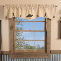 New Primitive Country Kettle Grove BLACK STAR CROW APPLIQUE Curtain Valance