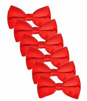 6 Pack Satin Pre-tied Tuxedo Neck Bowtie for, Red, Size Men 2iln