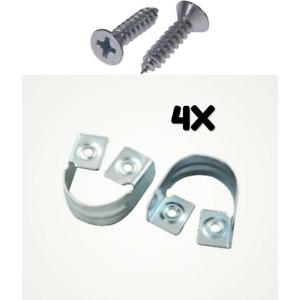 4X Rail Hanger Standard Tube Support Wardrobe Rod Socket Round Bracket +8 Screws