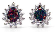 Sterling Silver Black Fire Opal And Diamond 2.98ct Pear Cut Stud Earrings (925)