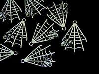 6 Pcs - 31mm Tibetan Silver Spider 's Web Halloween Charms Spider Gothic B191