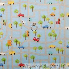 BonEful FABRIC Cotton Flannel Quilt Blue Boy US Truck Car Road Map Dot BTY SCRAP