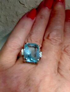 16+Ct REAL Aquamarine 💎 RING W/ Diamonds 925 SS ALL Sizes! BUY NOW-Almost GONE!