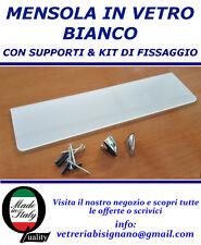 mensola vetro bianco 60 X 15 kit di fissaggio spessa 6 mm disponibile su misura