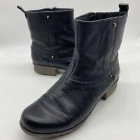 Clarks 16724 Women's Round Toe Leather Ankle Zip Black Bootie Boots Sz 8 W